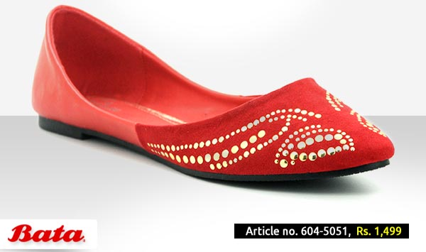 Bata Shoes Pakistan Fall Winter Collection 2014 2015 with Prices for Girls and Women Fashion Formal Red Khussa