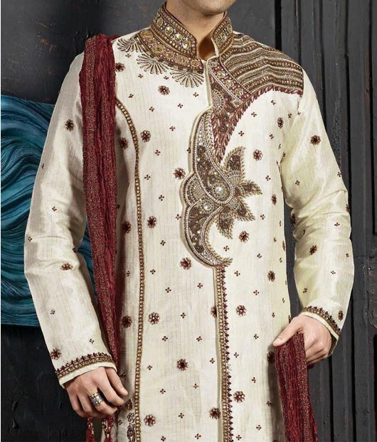 Beautiful Stylish and Fancy Fashion Sherwani Designs 2015 for Grooms, Men in Pakistan India