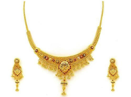 Bridal-Jewellery-Simple-Set-Pure-Gold-Necklace-Designs-2014-2015-Pakistan-India-UAE,-Saudi-Arabia-Facebook