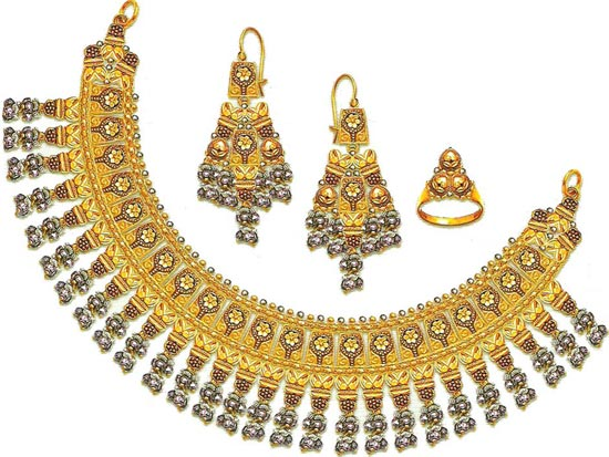 Bridal Jewellery Set Pure Gold Necklace Designs 2014 2015 Pakistan