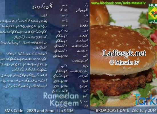 Easy Chicken Burger Urdu Recipe by Rida Aftab Tarka Masala TV
