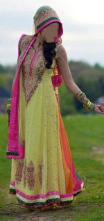 Fancy Frock Mehndi Dresses 2013 in Pakistan 150x319 Pakistani Bridal Mehndi Dresses Designs 2013 for Girls