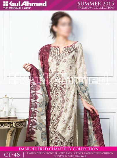 Gul Ahmed Summer Lawn Collection 2015 Prices Rs.-5,500