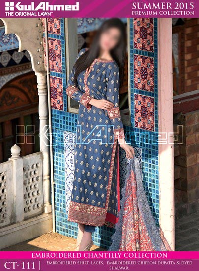 Gul Ahmed Summer Lawn Collection 2015 Prices for Women 6000