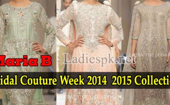 Latest Fashion Trends Dresses Maria B Bridal Couture, Fashion Week 2014 2015 Collection Walima Frock Long Tail Gown