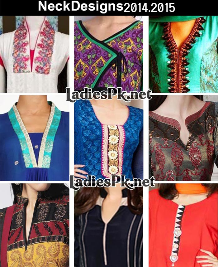 Latest Gala Kameez New Neck Designs 2014 2015 For Ladies Suits in Pakistan and India Kurti Frock Facebook Collection