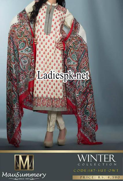 Mausummery-Pakistan-Winter-Dresses-Collection-2014-2015-Prices-Shawl-Shalwar-Kameez-Fashion--Suit-with-Shawl-2200-Women-Girls