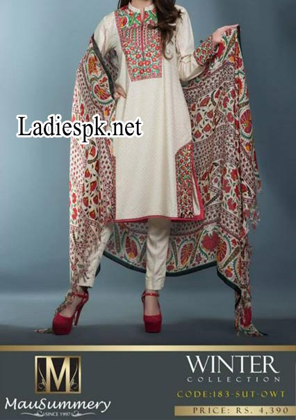 Mausummery-Pakistan-Winter-Dresses-Collection-2014-2015-Prices-Shawl-Shalwar-Kameez-Fashion-Trends