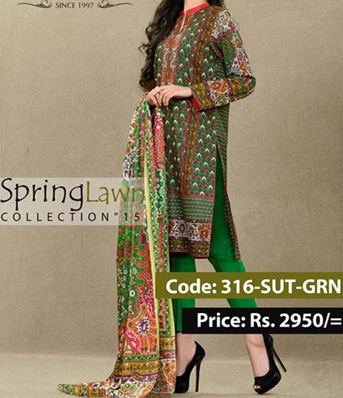 Mausummery Summer Lawn Prints Designs Collection 2015 Prices Green