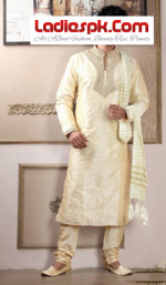 Mens Kurta Latest Design for mehndi wears 2013 150x257 Latest Bonanza Three Piece Pant Coat Styles for Gents 2013