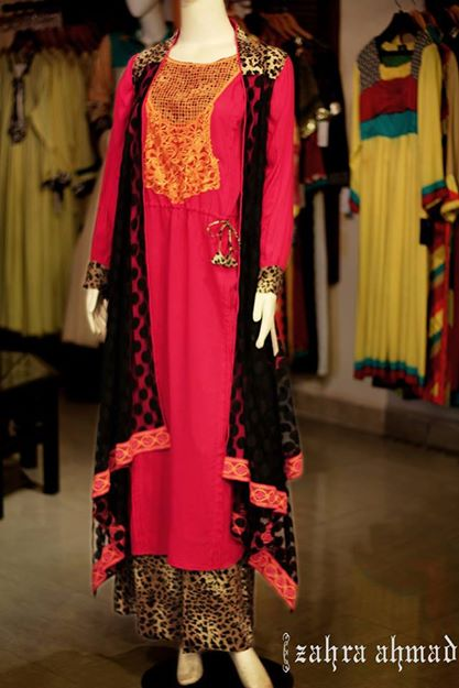 New long shirts with palazzo Designs 2014 2015 Fashion Trends in Pakistan India Zahra Ahmad