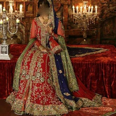 Pakistani Bridal Dresses in Red and Green 2015