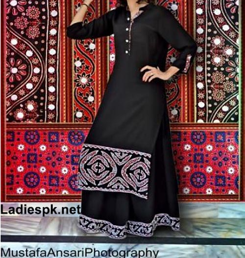 Shirt Plazo Design 2014 2015 in Pakistan for Girls and Women India Dresses Fashion Trend Black