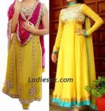 Yellow Frocks for Girls Mehndi Dresses 2013 150x158 Indian Fancy Frock Designs for Mehndi
