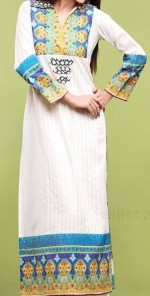 Zahra Ahmad Lawn 2013 Collared straight shirt 150x296 Womens Kurta Design 2013 Long Shirts Style For Girls Fashion