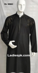 black fancy bonanza kurta shalwar kameez men boys wedding party 2013 price 150x288 Casual Dresses for Men Boys, Kameez Shalwar in Summer 2013