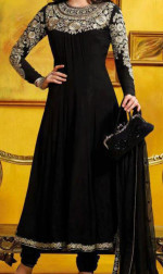 boutique style black frock for girls party wear 150x252 New Umbrella Frocks 2013 Style Designs India Pakistan