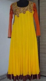 bridal yellow party frock style 2013 150x261 Long Frocks Designs For Girls in Pakistan India
