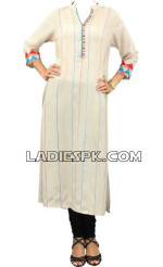 casual pakistani women kurtas 150x246 Long Women Kurta Design