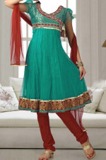 designer fancy anarkali frock churidar 150x226 Long Umbrella Frock Style for Girls 2013   Junaid Jamshed