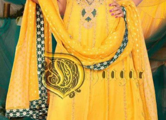 Latest Yellow Frock Bridal Wadding Mehndi Dresses 2013