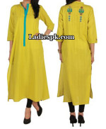ego clothing pakistan yellow kurta kurtis eid collection 2013 150x182 Latest Girls Kurta Style Fashion 2013 in Pakistan India