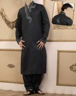 embroidered kurta kameez for men 2013 black party wadding 150x189 Nishat Naqsh Piping Kurta Shalwar Kameez Design 2013