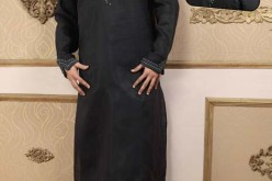 Black Embroidered Kurta Kameez for Men