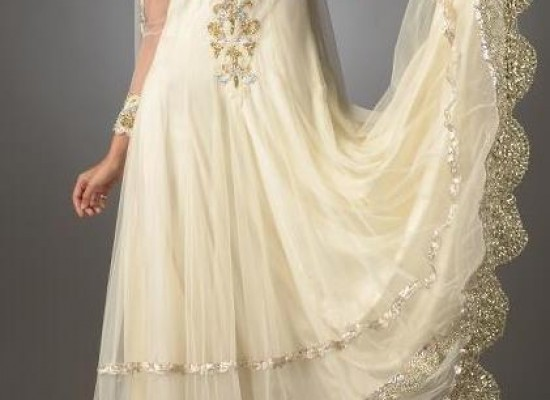 White Boutique Fancy Frock Designs for Wedding Party 2013