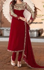 fancy red boutique style long frock design for wedding 2013 for girls 150x234 White Umbrella Frocks 2013 for Wedding