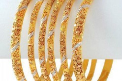 Gold Diamond Bangle with Stones for Wedding Party 2013 Pics