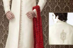 Indian Sherwani Designs in off White with Red Pyjama