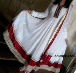 kaliyon wali white long umbrella frocks 2013 party 150x145 New Lon Frock Style in India & Pakistan
