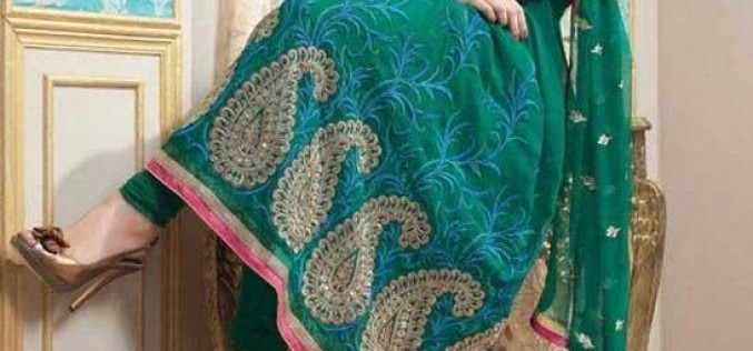 Latest Frocks With Churidar Pajama Designs 2014 for Girls