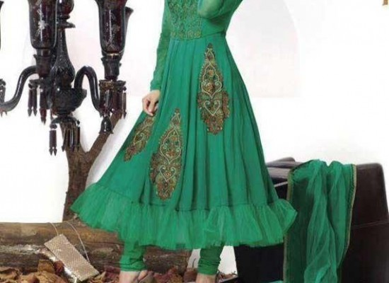 New Long Frocks With Choori Pajama Designs 2014 in Pakistan