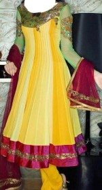 mehndi dresses for girls yellow bridal wadding frocks pakistani 150x278 Indian Fancy Frock Designs for Mehndi