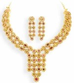 multicolor gold necklace design 2013 Earrings 150x168 Gold Jewellery Designs 2013 Bridal Necklace with Earrings Set