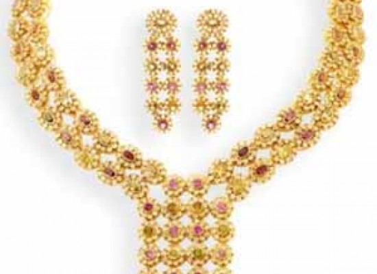 Multicolor Gold Necklace with Earrings