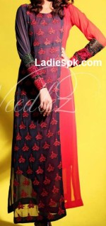 needlez by shalimar collection 2013 long shirt red and black in summer 150x319 Angrakha Style Long Shirt Fashion 2013 in Pakistan India