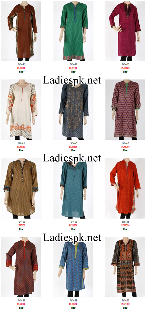 nishat linen Winter Pret Collection 2014 2015 with Prices for Women and Girls Dress Design Fashion