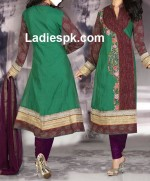 pakistani angrakha style churidar suit slkrf kameez1 150x181 Angrakha Style Long Shirt Fashion 2013 in Pakistan India