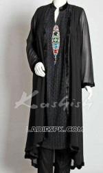 pakistani new black spring dresses 2013 frock 150x253 Long Tail Gown Shirts Fashion in Pakistan for Women & Girls