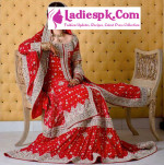 red beautiful bridal wedding open shirt dresses 2013 pakistan india 150x151 Fancy Bridal Frock Dresses for Wadding