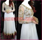 white indian  wedding party frocks designs 2013 boutique 150x142 Fancy Red Boutique Style Long Frock Design for Wedding 2013