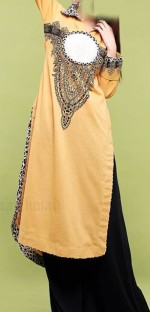 zahra ahmed a line collared shirt with animal printed collar and custom printed neckline 2013 150x312 Latest Girls Kurta Style Fashion 2013 in Pakistan India